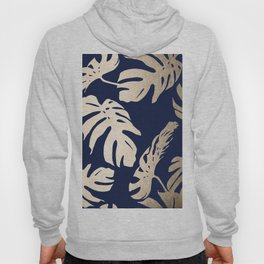 Simply Palm Leaves in White Gold Sands on Nautical Navy Hoody
