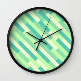 Geometric Diagonals (Green) Wall Clock