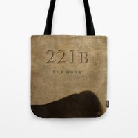 221b Tote Bags featuring No. 6. 221B by F. C. Brooks