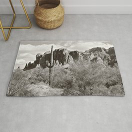 Saguaro in black and white Rug
