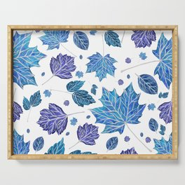 Autumn leaves pattern in blue Serving Tray