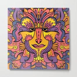 Flower spirit / Purple, orange, yellow pallete Metal Print