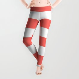 Pastel red - solid color - white stripes pattern Leggings