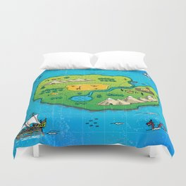 Old pirate's map Duvet Cover