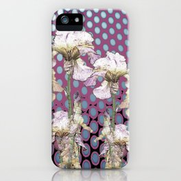 WHITE IRIS ON PUCE COLORED MODERN PATTERNS iPhone Case