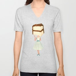 Cake Head Pin-Up - Chocolate Unisex V-Neck