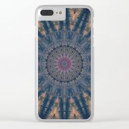 Delicate Navy Blue Bohemian Mandala Clear iPhone Case