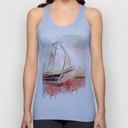 Boat  Red Unisex Tank Top
