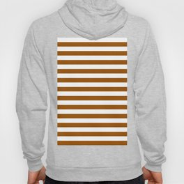 Narrow Horizontal Stripes - White and Brown Hoody