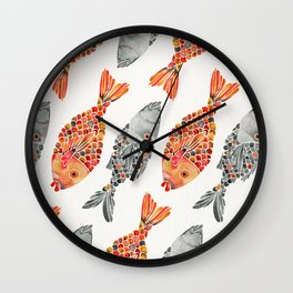 Indonesian Fish Duo – Grey & Orange Palette Wall Clock