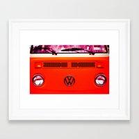 volkswagon Framed Art Prints featuring  Volkswagon Bug Van by Lavender~Ramonde