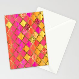Moroccan Tile Pattern In Pink, Red, Orange, And Gold Stationery Cards
