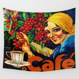 Vintage Brazil Coffee Ad Wall Tapestry