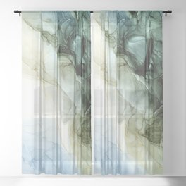 Land and Sky Abstract Landscape Painting Sheer Curtain
