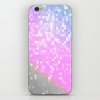 pixel iPhone & iPod Skins featuring Pink Lavender Gray Pixels by Whimsy Romance & Fun