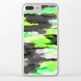 psychedelic camouflage splash painting abstract in green yellow and black Clear iPhone Case