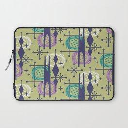 Retro Atomic Mid Century Pattern Blue Green Purple and Turquoise Laptop Sleeve