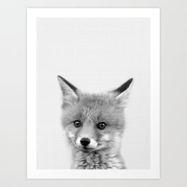 Black and white Fox print, Fox wall art, Nursery decor, Animal art, Baby animal prints Art Print