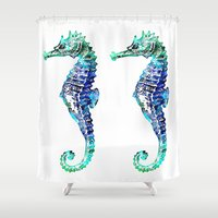 sea horse Shower Curtains featuring Sea Horse by LebensART