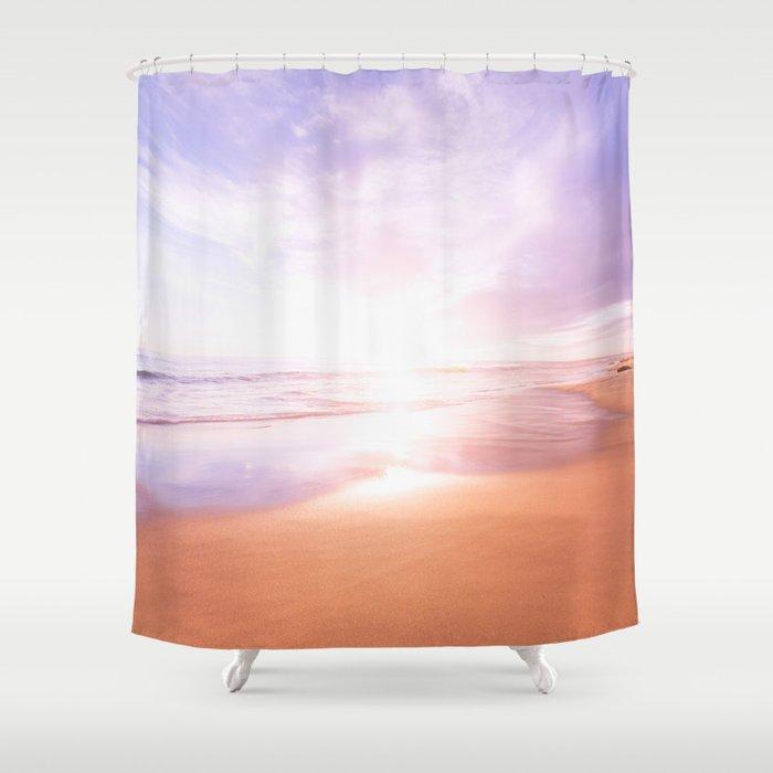 Sunset Beach Scene Summertime Pastel Sky Shower Curtain