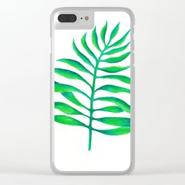 Green Palm Leaf Clear iPhone Case