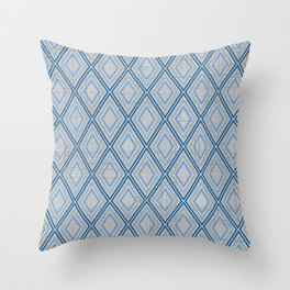 Distressed Geometric Diamond Pattern in Soothing Classic Blues Muted Orange Desert Colors Throw Pillow