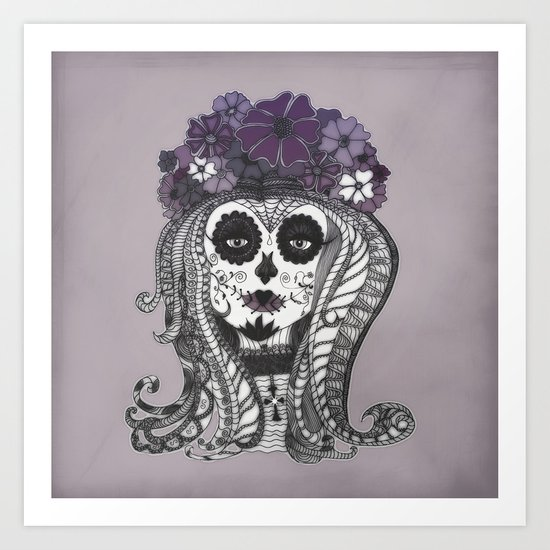 FLOWER CANDY SKULL Art Print