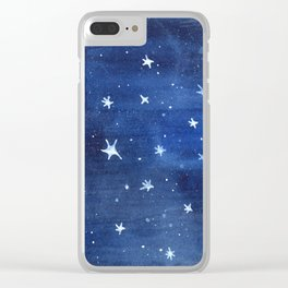 Midnight Stars Night Watercolor Painting by Robayre Clear iPhone Case