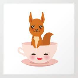 Cute Kawai pink cup with red squirrel Art Print