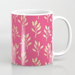 Elegant faux gold neon pink modern floral illustration Coffee Mug