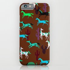 wild horses pattern in chocolate brown Slim Case iPhone 6s
