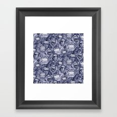 BITE ME roses and orchids INDIGO Framed Art Print