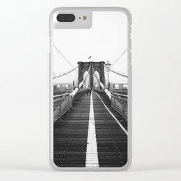 Brooklyn Bridge Black and White Clear iPhone Case