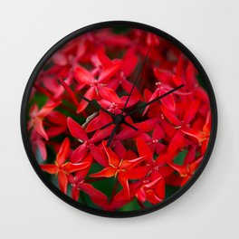 Red Flowers Wall Clock