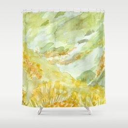 watercolor landscape // california flower fields meadow poppy poppies Shower Curtain