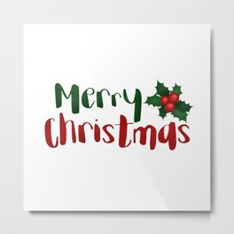 Merry Christmas | Red And Green Holly Metal Print