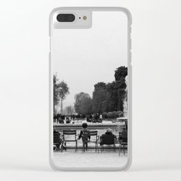 Paris in Black and White Clear iPhone Case