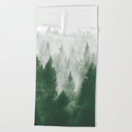 Foggy Woods III Beach Towel