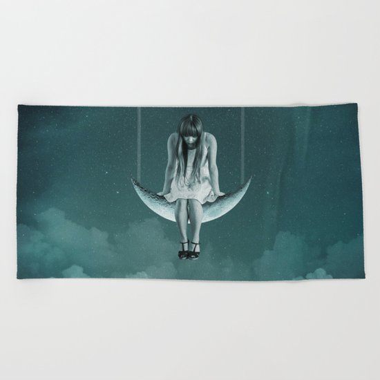 Moon Girl Dreams Beach Towel