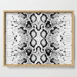 Snake skin texture. black white simple ornament Serving Tray