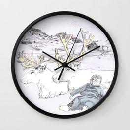 Two Reindeers Wall Clock