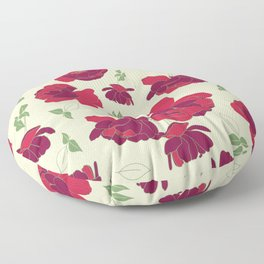 English Roses in Red and Cream Floor Pillow