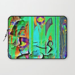 DECORATIVE GREEN SHABBY CHIC PEELING WALLPAPER DESIGN Laptop Sleeve