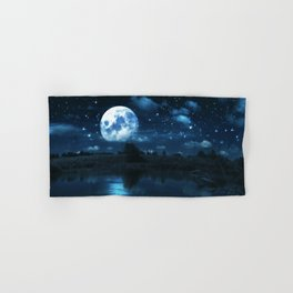 Rural forest near a river night landscape with full moon Hand & Bath Towel