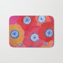 Hippy flowers watercolor Bath Mat