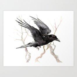 Flying Raven Art, raven crow tribal design Art Print