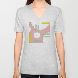Mid-Century Modern in Pink, Mint and Mustard Pattern Unisex V-Neck