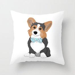 Business Corgi Throw Pillow