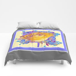 YELLOW ART ROSE FLOWERS  LILAC-GREY Comforters