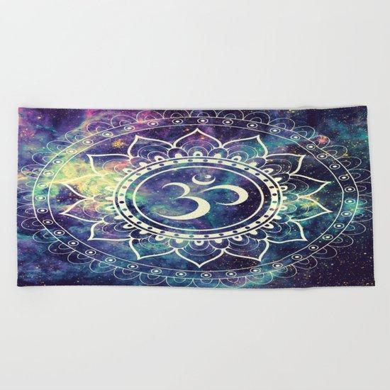 Om Mandala : Deep Pastels Galaxy Beach Towel